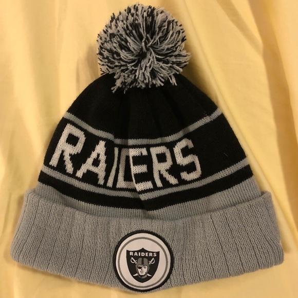NFL Raiders Pom Pom Beanie. M 5b78f89c47736872c88eb5a8 1d777a4f9f1